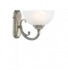 Windsor 1 Light Antique Brass Wall Bracket-Marble Glass