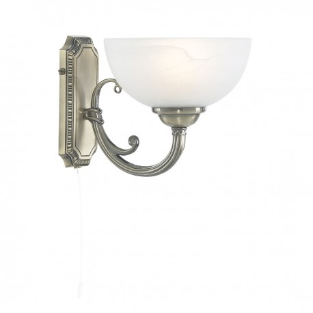 Windsor 1 Light Antique Brass Wall Bracket-Marble Glass