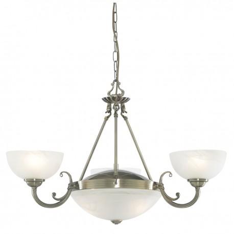 Windsor 5 Light Antique Brass Fitting-Marble Glass