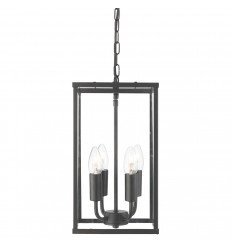 Voyager 4 Light Rectangle Black/Clear Glass