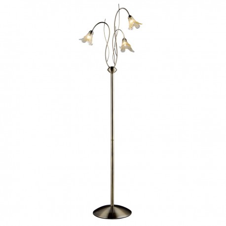 Lily 3 Light Antique Brass Floorlamp - Complete With Amber Petal Glass