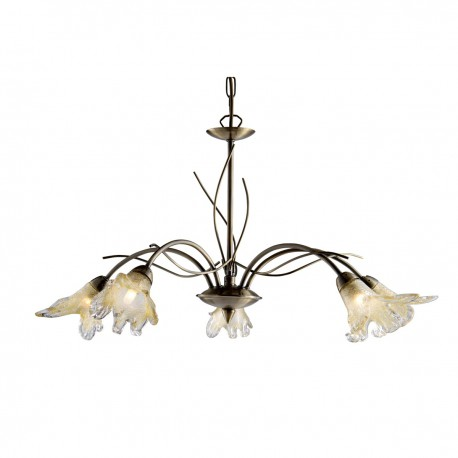 Lily 5 Light Antique Brass Fitting - Complete With Amber Petal Glass