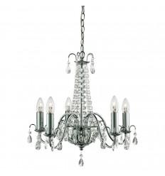 Hampton 5 Light Crystal Chandelier, Chrome, Clear Crystal Deco