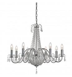Hampton 8 Light Crystal Chandelier, Chrome, Clear Crystal Deco