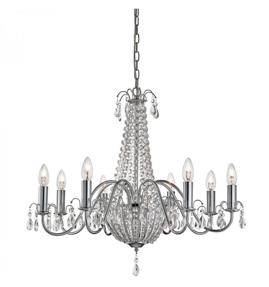 Hampton 8 light crystal chandelier chrome clear crystal deco hampton 8 light crystal chandelier chrome clear crystal deco aloadofball Choice Image