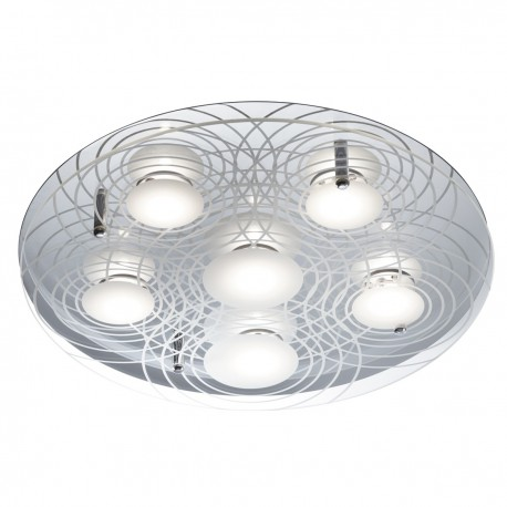Quadrant - 6 x LED, Chrome, Clear Glass Diffuser/White Etched Circular Pattern