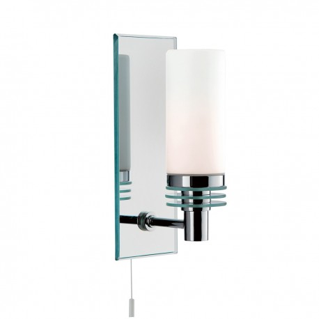 Bathroom 1 Light - Chrome/Glass Mirrored Backplate Wall Bracket IP44