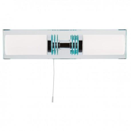 Bathroom 2 Light - Chrome/Glass Mirrored Backplate Wall Bracket IP44
