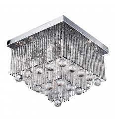 Beatrix - 5 Bulb Square Ceiling Flush, Chrome With Twist Tubes And Clear Crystal Ball Drops