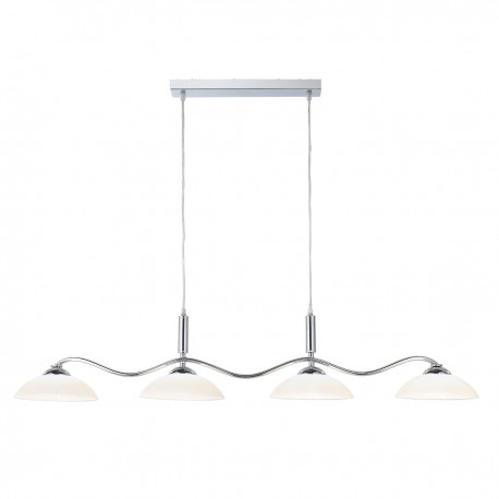 Pendant 4 Light Chrome Bar/Frosted Glass Shades