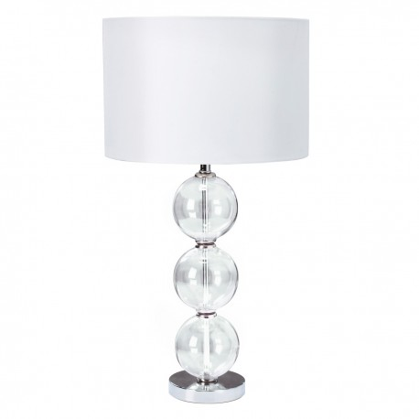 Clear Glass Stacked Ball Table Lamp