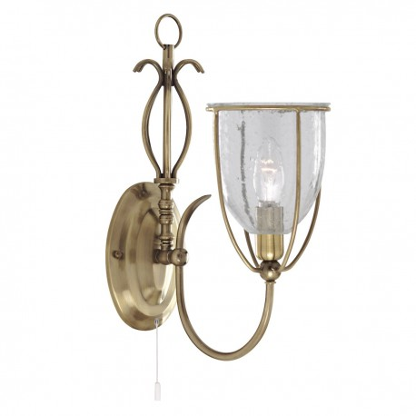 Silhouette 1 Light Antique Brass Wall Bracket Complete With Glass