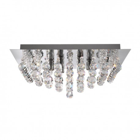 Hanna 4 Light Chrome Square Flush-Crystal Balls