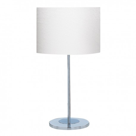Table Lamp - Chrome Base, Ivory Drum Shade