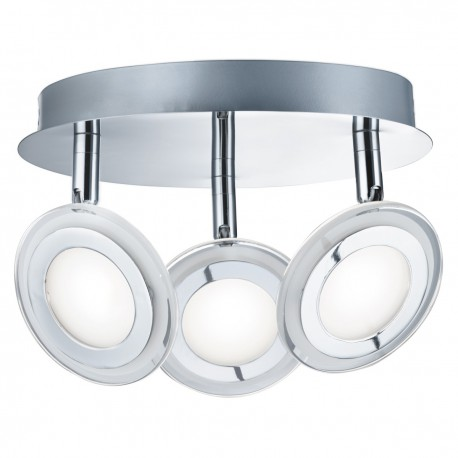 Spotlight 3 Light LED Disc Chrome, Clear/Frosted Glass Lens
