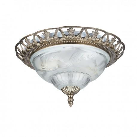 Flush Antique Brass/Glass Fitting