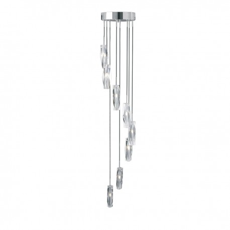 Sculptured Ice 8 Light Multidrop Pendant