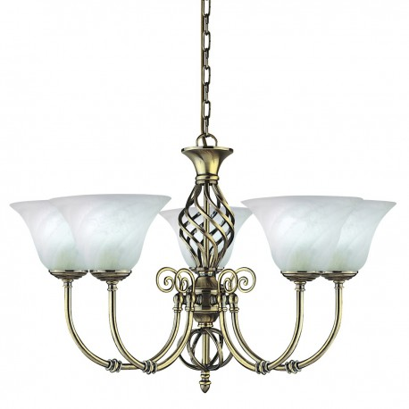 Cameroon 5 Light Antique Brass Pendant