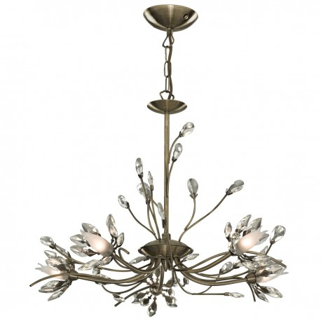 Hibiscus 5 Light Fitting With Flower Glass