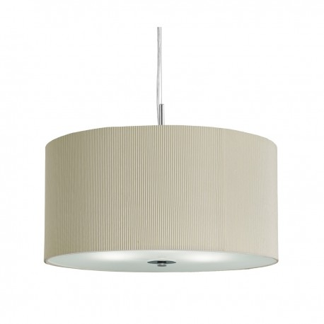 Drum Pleated Shade Pendant With Frosted Glass Diffuser 40cm
