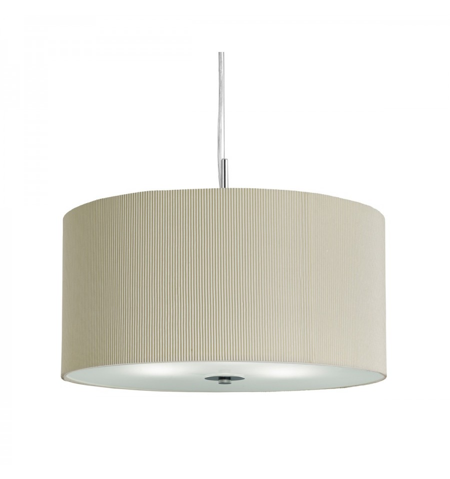 Drum Pleated Shade Pendant With Frosted Glass Diffuser