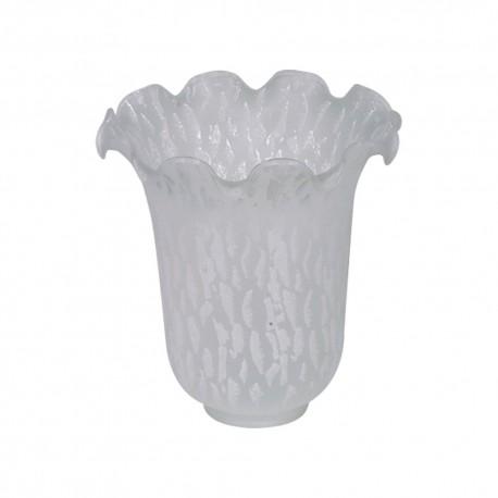6 Crimp White Snowflake Glass