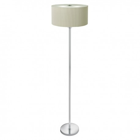 Drum Pleat - 3 Light Floor Lamp Pleated Shade, Frosted Glass Diffuser