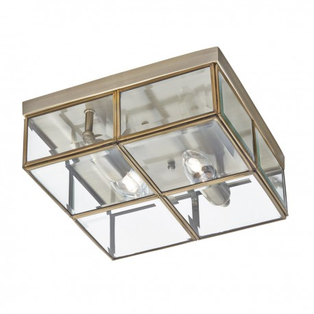Flush - 2 Light Flush Box, With Clear Bevelled Glass Panels