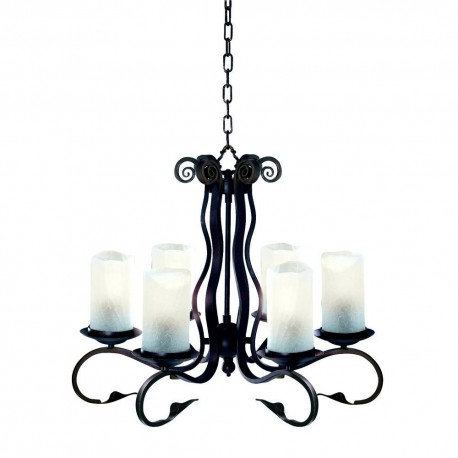 Scroll 6 Light Rustic Fitting Complete With White Crackle Glass
