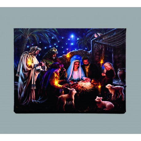 Nativity Fibre Optic Canvas Battery Operated