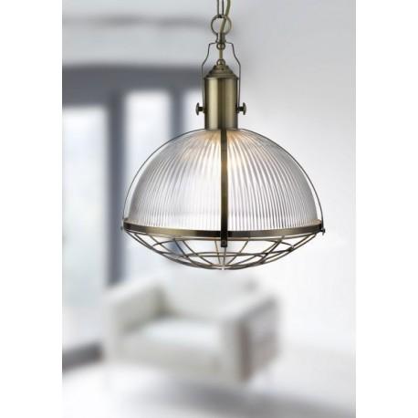 Pendant 1 Light Industrial - Antique Brass & Clear Glass