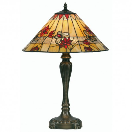 Butterfly Tiffany Table Lamp Red 17""