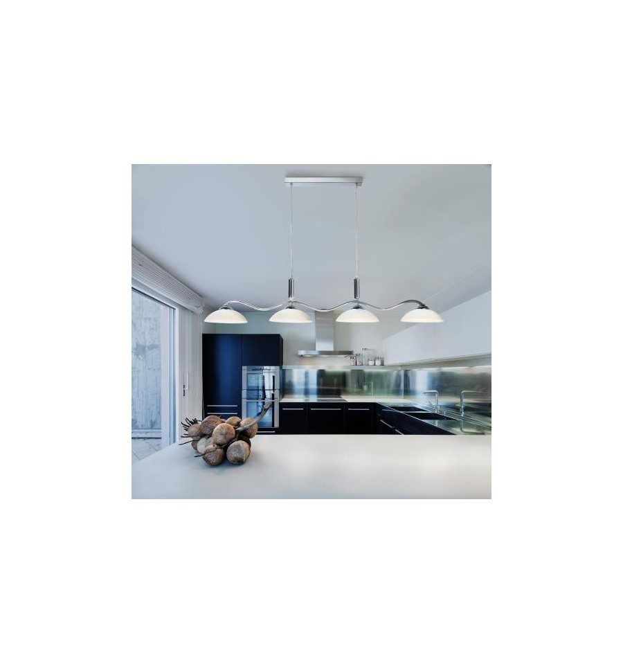 Pendant 4 Light Chrome Bar Frosted Glass Shades Hegarty
