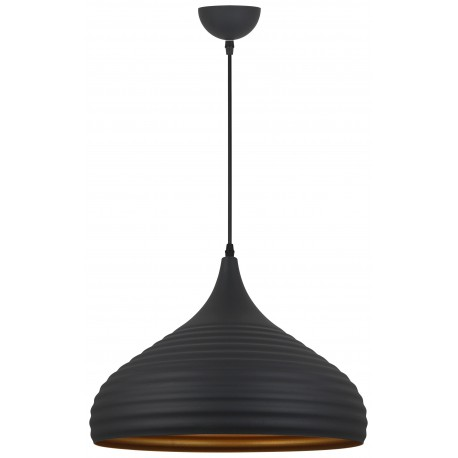 Matera Dark Grey Ribbed with Gold Inner Pendant