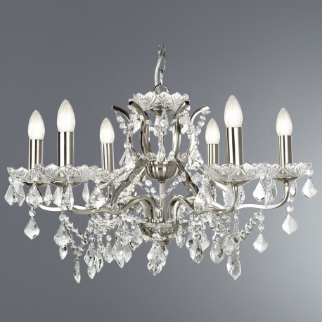 Paris 6 Light Chandelier with Crystal and Satin Silver