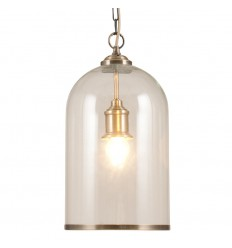 Clear Glass and Antique Brass Pendant
