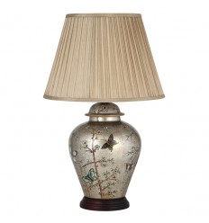 Butterfly Patterned Ceramic Table Lamp with Shade