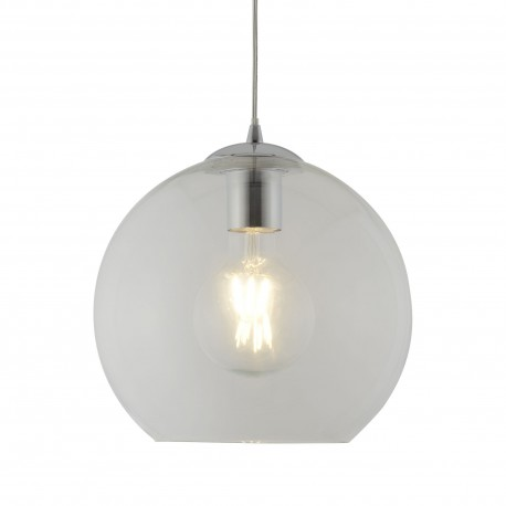 Clear Glass Ball 25cm Pendant with Polished Chrome