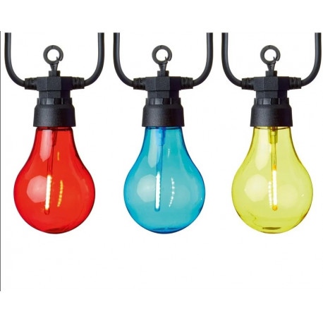 10 Light Multi-Coloured Connectable LED Tinted Bulb Lights